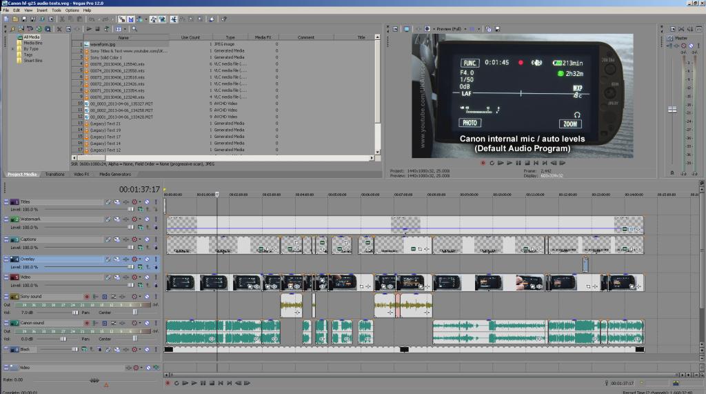 Sony Vegas Pro 12 editing screen