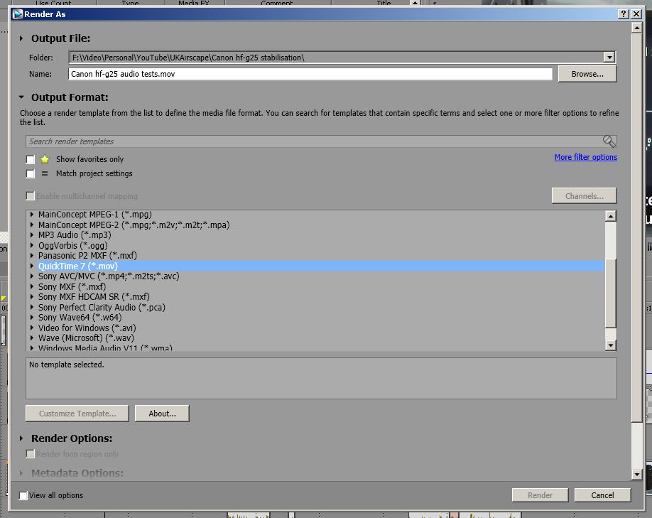 Sony Vegas Pro 12 render dialogue