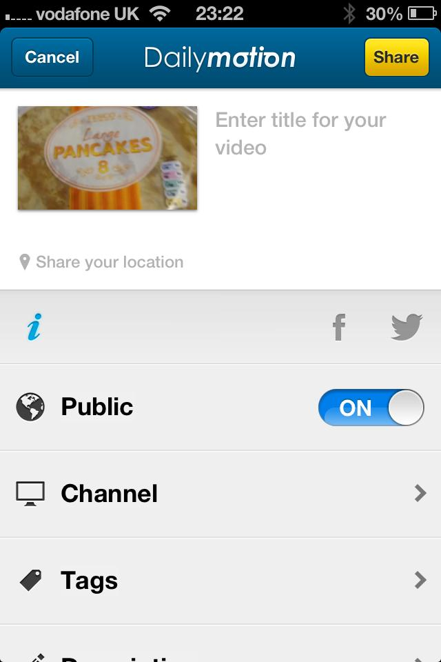 Dailymotion Camera App: upload