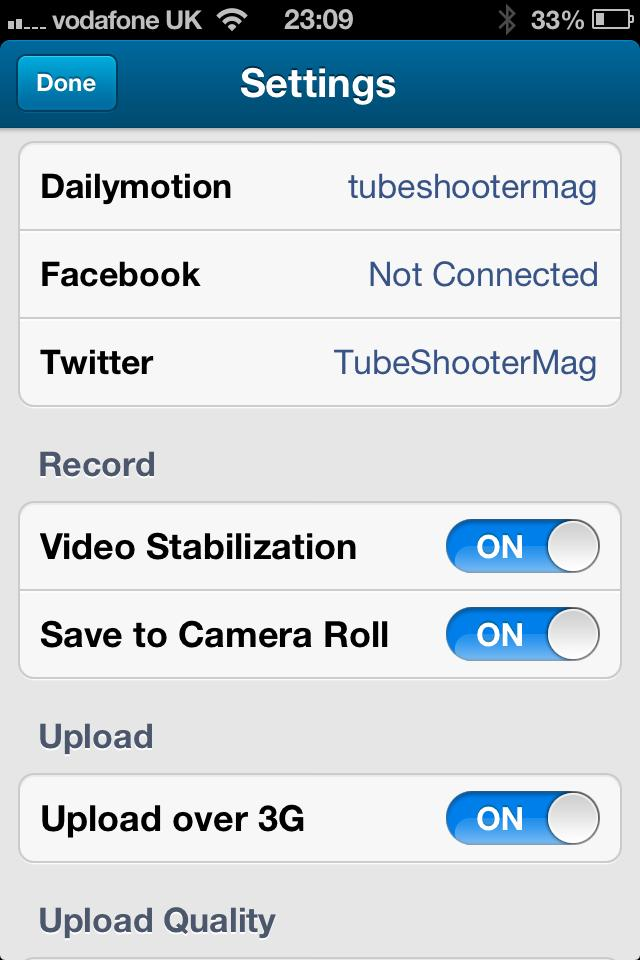 Dailymotion Camera App: Settings