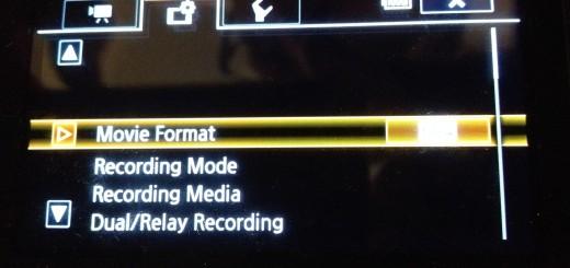 Canon XA20 format choice screen