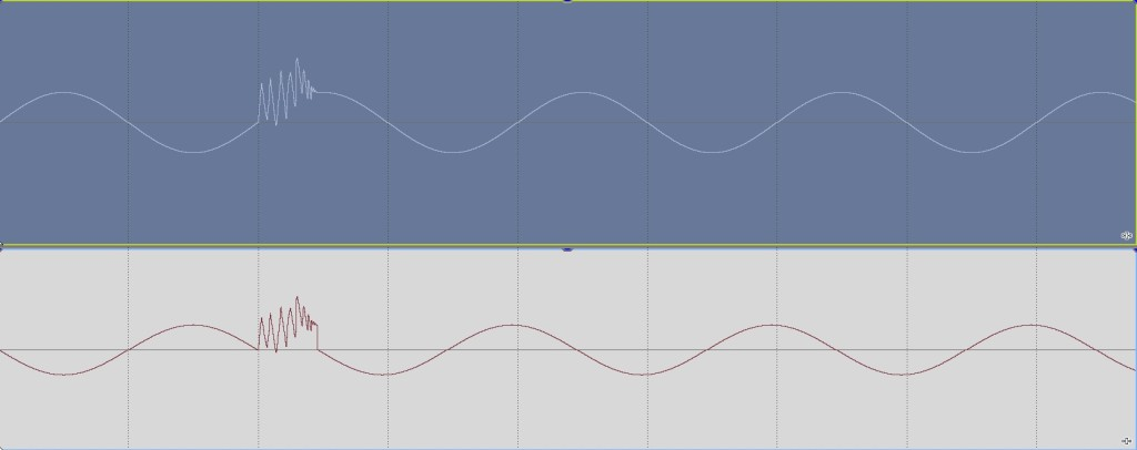 Out of phase sine wave with common glitch