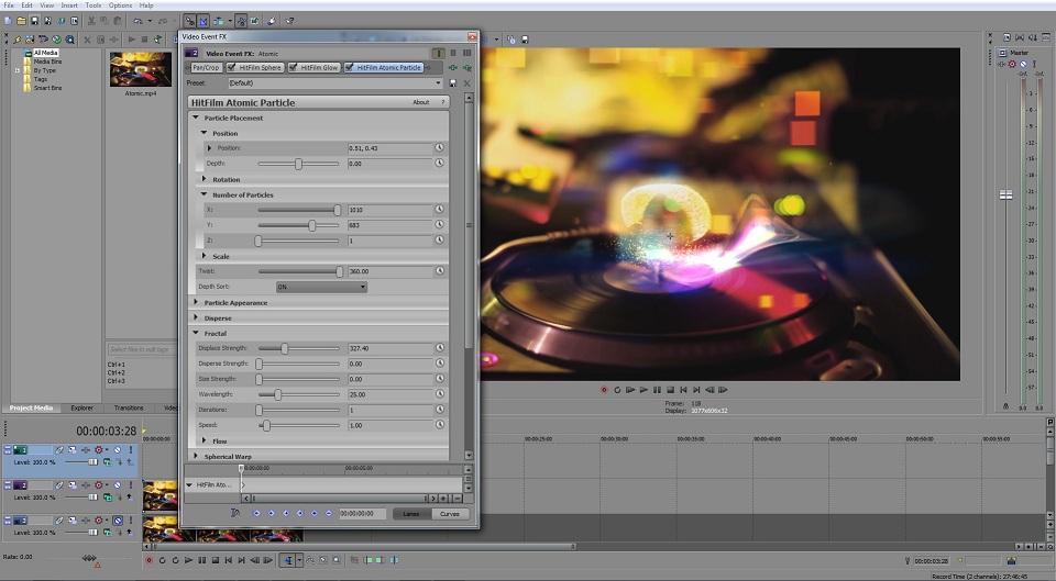 HitFilm plugins within Sony Vegas