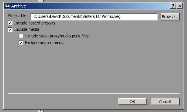 Sony Vegas Pro 13 Export Archive options