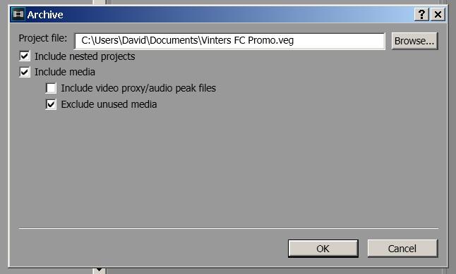Sony Vegas Pro 13 Export Archive options