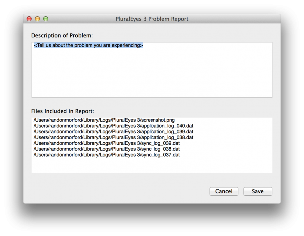 Example of problem reporting in PluralEyes 3.5 Beta