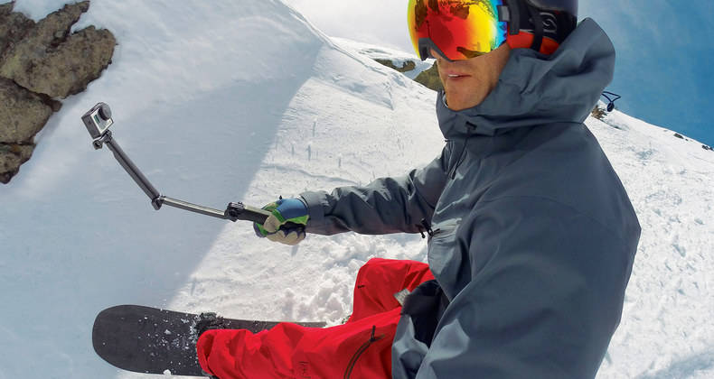 GoPro 3 Way mount held by snowboarder