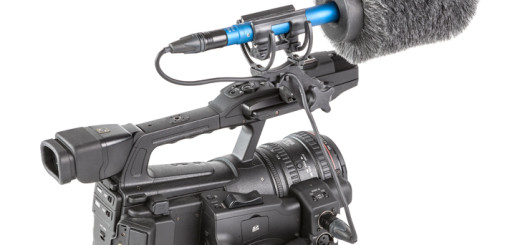 Rycote Invision Softie Lyre with mic on camcorder