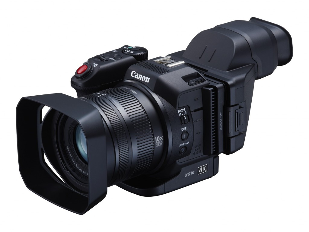 Canon XC10 with loupe and lens hood