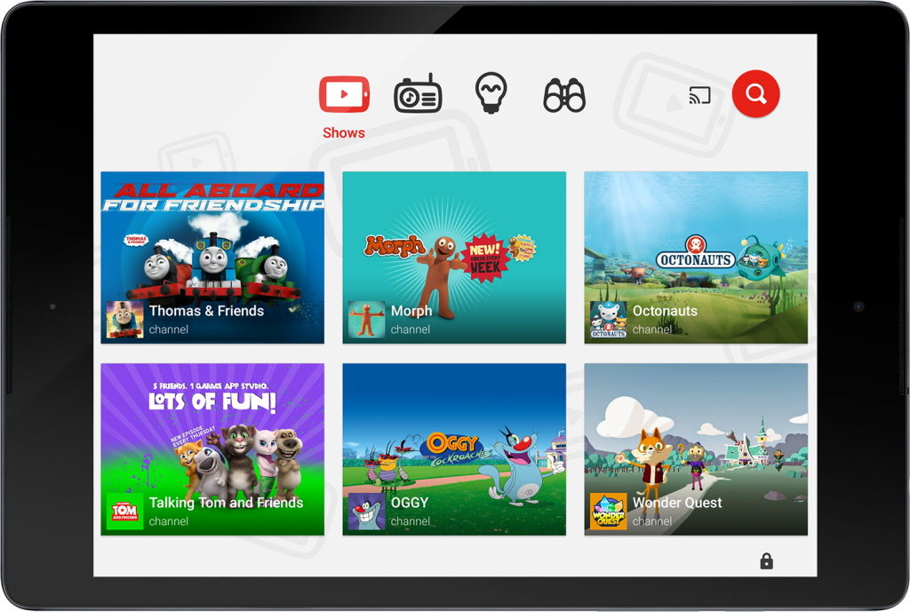 YouTubeKids UK version home screen