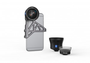 ExoLens bracket with wide-angle lens on an iphone
