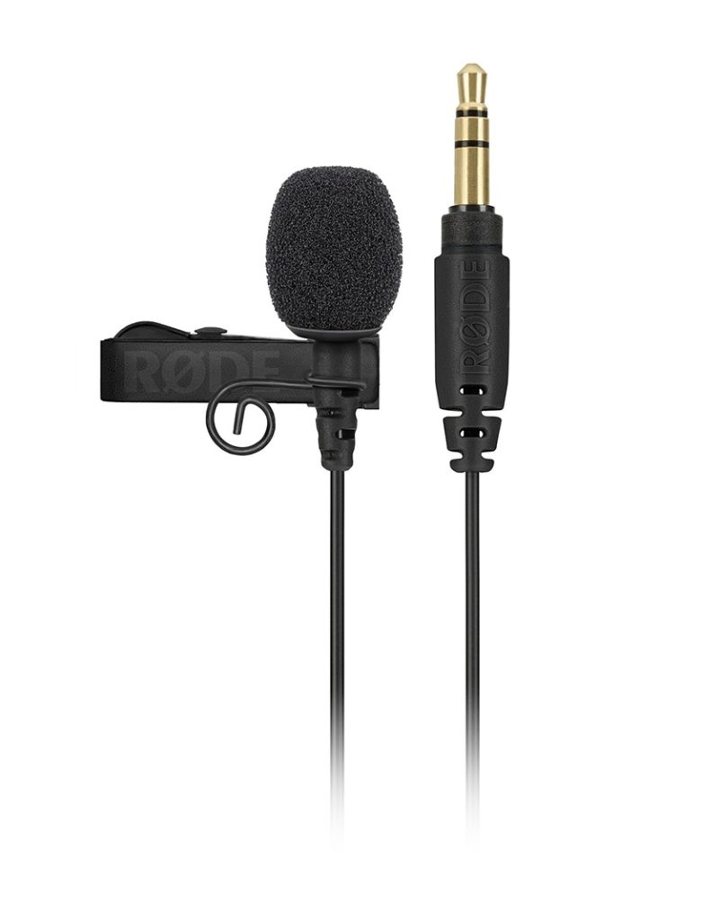 Image of Rode lavalier microphone with tie clip and foam windshield
