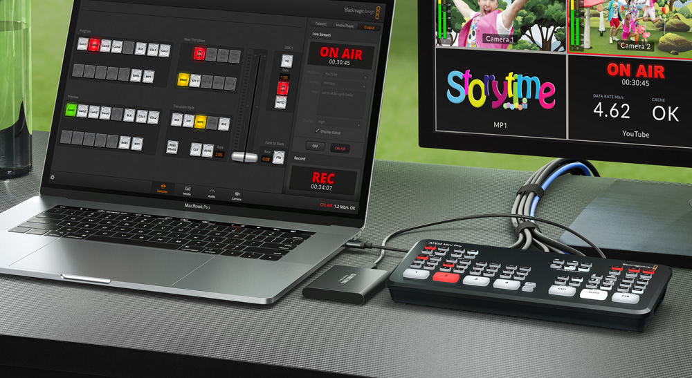Atem Mini Pro as used in a typical setup with laptop, monitor and SSD recorder.